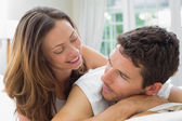 Close-up of a relaxed couple lying in bed — Stock Photo