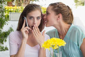 Woman whispering secret into friends ear while shes on call — Stock fotografie