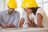 Architects in yellow helmets working on blueprints — Stock Photo