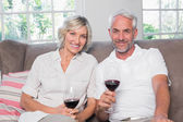 Portrait of a relaxed mature couple with wine glasses — Stock Photo