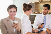 Team during break time in office cafeteria — Stock Photo