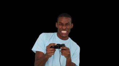 カジュアルな青年がビデオゲームをプレイ — ストックビデオ