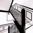 Interior stairs in black and white, wrapped in an intense light of the Sun — Stockfoto
