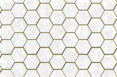 White hexagons and gold trim — Stock Photo