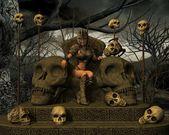 Girl with horned skull — Foto Stock