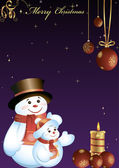 Postcard with two snowmen — Stock Photo