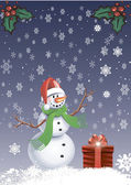 Card - Snowman with a snowflakes — Stock Vector