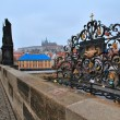 Charles bridge in Prague with love locks, Czech republic — Stock Photo #40018343
