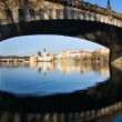 Prague and its old houses, Vltava river and bridges — Stock Photo