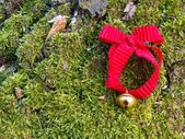 Jingle bell with red ribbon in the wood — Photo