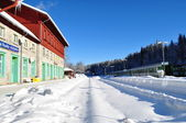 Railway Station in winter — Stock Photo