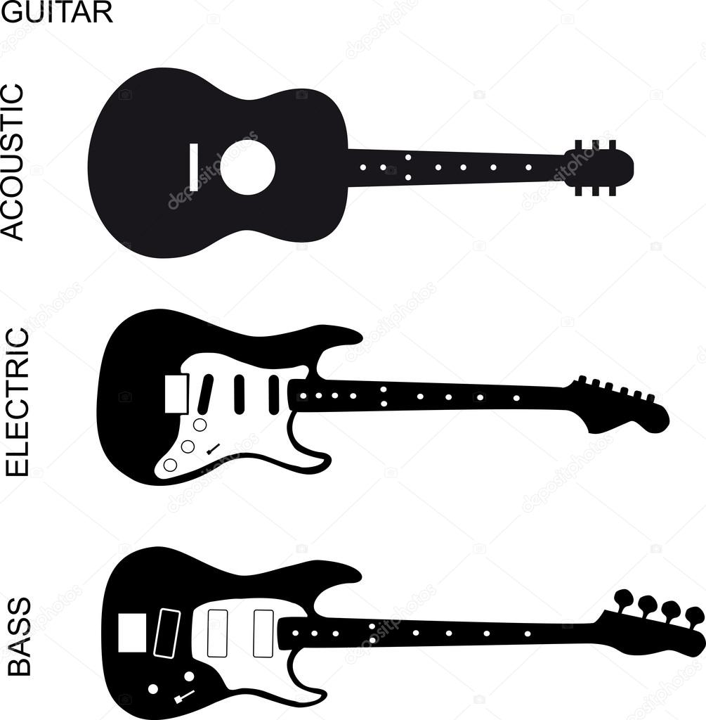 acoustic  electric and bass guitar  u2014 stock vector