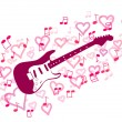 Guitar and heart — Stock Vector