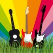 Guitars in grass — Stock Vector