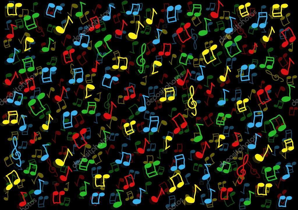 3d Colorful Music Notes Wallpaper: Bunte Musik Noten Hintergrund Illustration