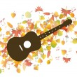 Stock Vector: Guitar and Autumn leaves illustration