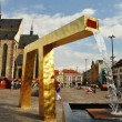 Gold fountain in Pilsen — Stock Photo