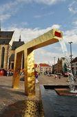 Gold fountain in Pilsen — Stock Photo