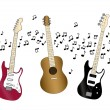 Acoustic, electric and bass guitar — Stock Vector