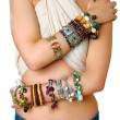 Girl with bracelets — Stock fotografie