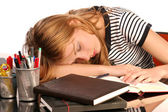 Estudante a dormir — Foto Stock