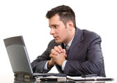 Praying stock broker — Stock Photo