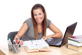 Studying with smile — Stockfoto
