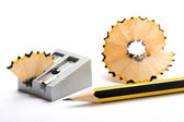 Pencil and pencil sharpener — Stock Photo