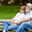 Senior couple sitting on a park bench — 图库照片