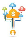 Composición de las nubes colores con iconos — Vector de stock
