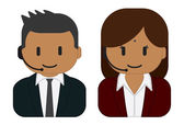 Hindu customer service man and woman wearing headsets — 图库矢量图片