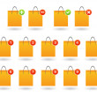 Shopping bag with icon set — Stock Vector