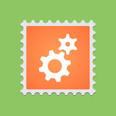 Post stamp with icon — Stock Vector