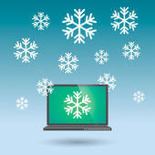 Laptop with snow flakes — Stock Vector