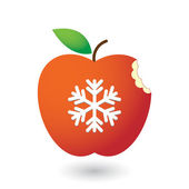 Apple with a snow flake — Stockvector
