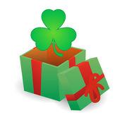 Present with clover icon — Vector de stock