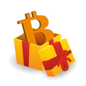 Present with bitcoin — Stock Vector