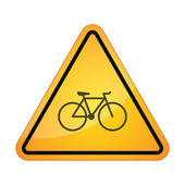 Danger sign with a bicycle — Stock Vector