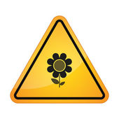 Danger sign with a flower — Stock Vector