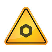Danger sign with a nut — Stock Vector