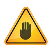 Danger sign with a hand — Stock Vector
