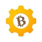 Gear with a bitcoin — Vecteur