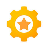 Gear with a star — Stock Vector
