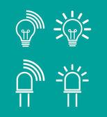 Light internet data transmission device icons — Stock Vector