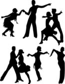 Dance people silhouette vector — Stock Vector