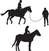 Woman on the horse silhouette vector — Stockvektor