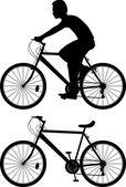 Vector silueta ciclista — Vector de stock