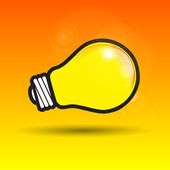 Glowing yellow light bulb as inspiration concept — Stock Vector