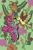 Exotic birds and a parrot among the flowers, leaves and vines — Vettoriale Stock
