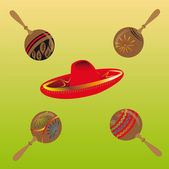 Red sombrero surrounded by maracas — Stock Vector